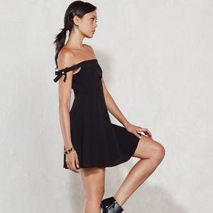 Reformation Genevieve Black Off Shoulder Dress